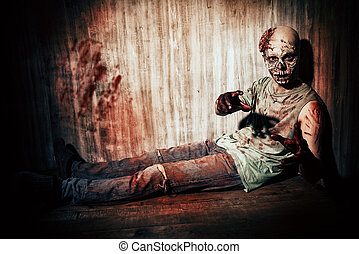 dreadful - Scary bloody zombie man in the old house. Horror....