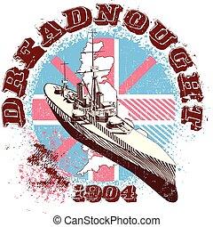 DREADNOUGHT  1904 - Vectorial image of war-ship Dreadnought