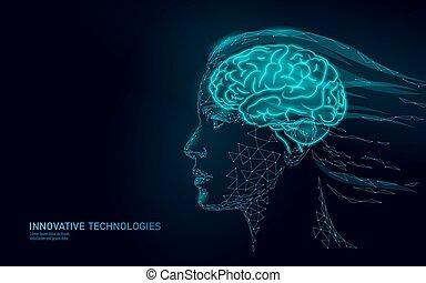 dream., 女性, 余分, ai, 抽象的, 現代, 心, poly, 脳, 人間, 女の子, 精神, 考え, concept., バーチャルリアリティ, 低い, health., プロフィール, 女, 助手, process., イラスト, 活動的, 想像力, ベクトル