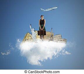 Dream a trip - A tourist dreams her next beautiful trip