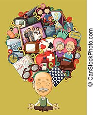 Dream and thought of old man - vector illustration of dream...