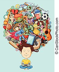 Dream and thought of teenage boy - vector illustration of...