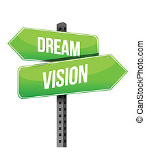Dream and vision sign illustration design over a white...