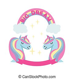 Magic unicorn and rainbow poster, greeting card background with Unicorn head, rainbow