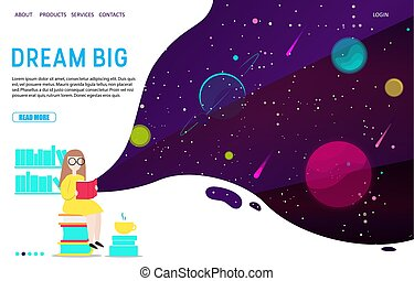 Dream big landing page website vector template