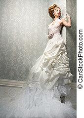 Dream Bride - Very tall caucasian bride is posing in a dream...