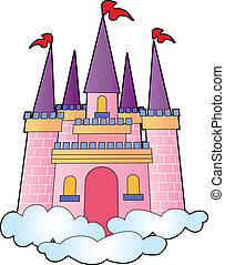 Fantasy castle on a bed of clouds