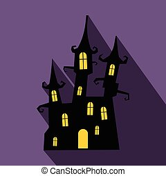 Dream castle flat icon with shadow