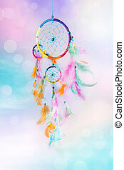 Dream catcher and abstract background