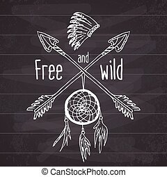 Dream catcher and crossed arrows,