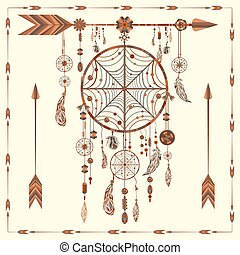 Dream Catcher arrows, beads, ethnic Indian, feathers,...