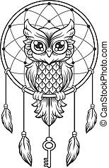 Dream-catcher black and white owl