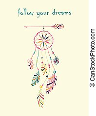 Dream catcher - Card with native Indian-American dream...