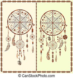 Dream Catcher ethnic Indian, feathers, beads, circles