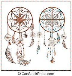 Dream catcher ethnic ornament spider web, beads, circler,...