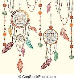 Dream Catcher feathers, beads, cobweb.
