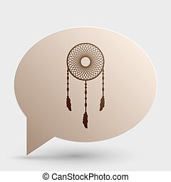 Dream catcher sign. Brown gradient icon on bubble with shadow.