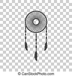 Dream catcher sign. Dark gray icon on transparent background.