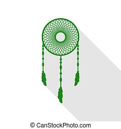 Dream catcher sign. Green icon with flat style shadow path.