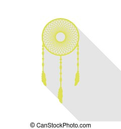 Dream catcher sign. Pear icon with flat style shadow path.