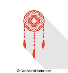 Dream catcher sign. Red icon with flat style shadow path.