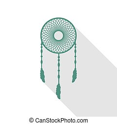 Dream catcher sign. Veridian icon with flat style shadow path.