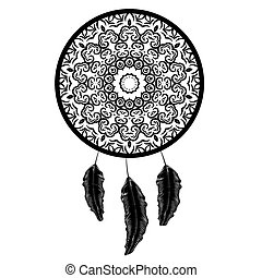 Dream Catcher Silhouette with Feathers