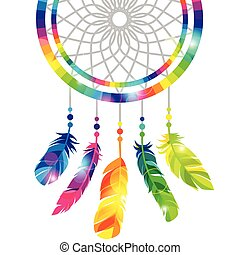 Dream catcher with abstract bright transparent feathers.