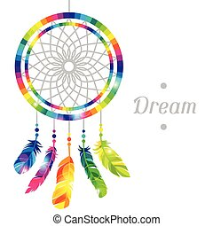 Dream catcher with abstract bright transparent feathers
