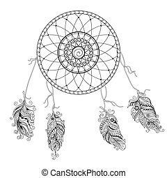 dream catcher with decorated feathers - Hand drawn decorated...