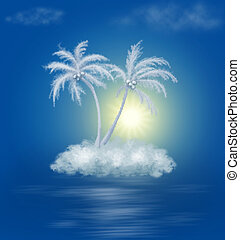 dream cloud island with palms