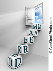 dream conceptual door with sky and box blue word ladder in...