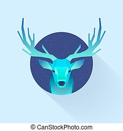 dream dear - polygonal illustration of deer in circle