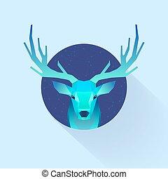 polygonal illustration of deer in circle