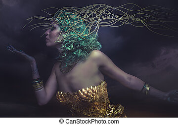 Dream, Deity, beautiful woman with green hair in golden goddess armor. Fantasy warrior