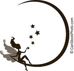 Dream fairytale grunge design for your love card.  background with a fairy Silhouette sitting on the moon among the stars. Vector illustration isolated on white background.