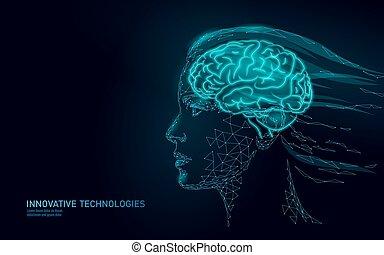 dream., femininas, extra, ai, abstratos, modernos, mente, poly, cérebro, human, menina, mental, pensando, concept., realidade virtual, baixo, health., perfil, mulher, assistente, process., ilustração, ativo, imaginação, vetorial