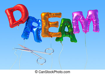 Dream from foil balloons with cutting scissors on the blue sky, 3D rendering