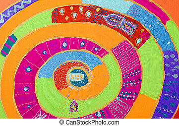 colorful painting in spiral form and with dreaming surreal motives (remembers to the painter HUNDERTWASSER). Painting made by my self!