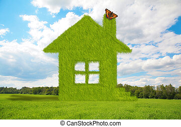 dream grass house with butterfly on Summer meadow, grass, tree, clouds collage