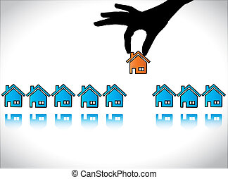 Dream Home Buying from Sale - Concept illustration of Home...
