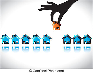 Concept illustration of Home or House Buying: A Hand Silhouette choosing a red colored house for his or her dream home