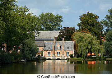Dream home by the lake. Popular tourist town of Bruges in Belgium