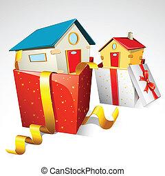 Dream Home - illustration of house in gift pack on white...