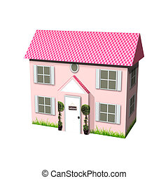 Dream House - 3D digital render of a cute pink cardboard...