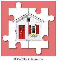 Dream house concept with completed puzzle house on colorful background 1