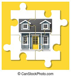 Dream house concept with completed puzzle house on colorful background 2