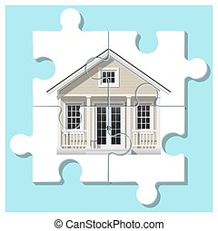 Dream house concept with completed puzzle house on colorful background 3