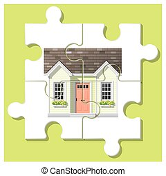 Dream house concept with completed puzzle house on colorful background 4