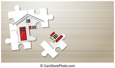 Dream house concept with puzzle house on wooden board background 1